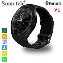 Smartch Y1 Смарт-часы круглый экран, сим-карты телефон часы, силикагель ремень, Bluetooth Smart часы, Ответ на вызов, набрать вызов, Телефон Mate