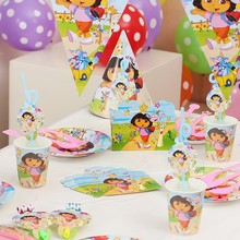 Dora Party Decoration Dora The Explorer Disposable Tableware Set Paper Plate/Cup/Napkins/Banner Kids Birthday Party Decor Suppli dora the explorer little girls ballet dance pajama set