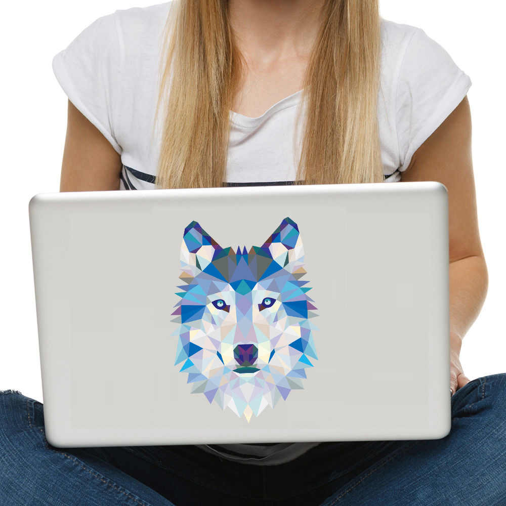 Wolf Head Geometry wall Stickers On latop 3D Styling computer  Vinyl Art wall decor Waterproof Decal Creative sticker