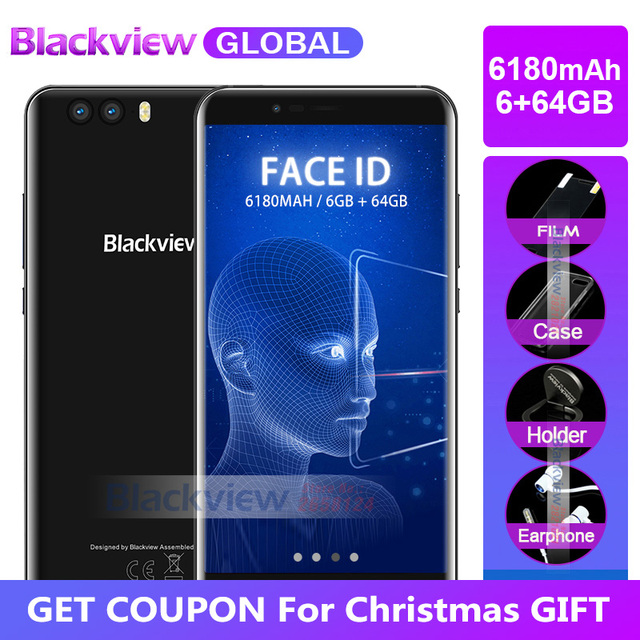 """2017 Blackview P6000 Twarzy ID Smartphone Helio P25 6180 mah Supperbattery 6 gb 64 gb 5.5 """"FHD 21MP Dual kamery Android 7.1 4g Mobilna"""
