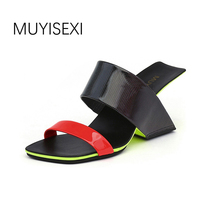Slippers Women Summer Strange High Heels Mixed Colors Wedges Shoes for Women Comfortable Women's Shoes plus size HL90 MUYISEXI