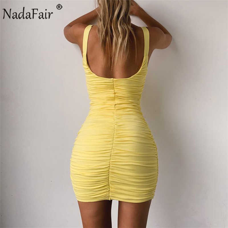 Nadafair летнее платье с открытой спиной облегающее мини платье Для женщин Ruched пикантные Клубные вечерние платье плюс Размеры бак Обёрточная бумага платье; Цвета: желтый, оранжевый