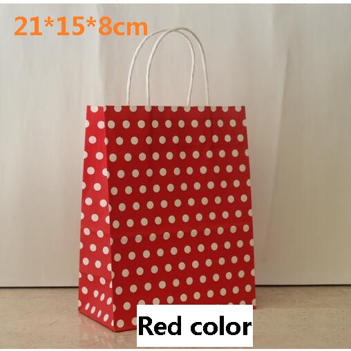40pcs Lot 21x15x8cm Red Color With White Polka Dot Kraft Paper Gift Bag Handles