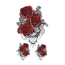 Wyuen Hot Waterproof Temporary Tattoo Stickers For Adults Kids Body Art Red Rose P-058 Fake Tatoo For Man Woman Tattoos