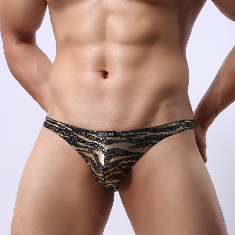 Sexy Leopard Men's Underwear Briefs Gold Silver Male Panties Underpants U Convex Penis Pouch Brand Cueca Brief Drop Shipping