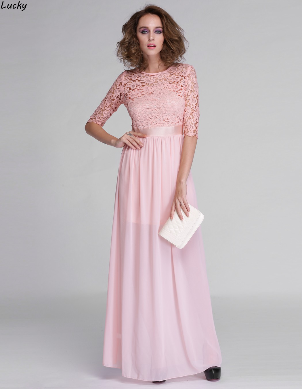 f39f753a5d0 Long Sleeve Lace Maxi Dress Blush - Gomes Weine AG