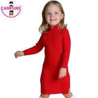 Campure New 2016 Brand Autumn Long Sleeve 1 5Yrs Baby Girls Dresses Red Chinese Style Kids