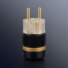 Выборг X 1 пара Hifi аудио чистая медь 24 К позолоченный прозрачный ЕС schuko разъем питания удлинитель адаптер