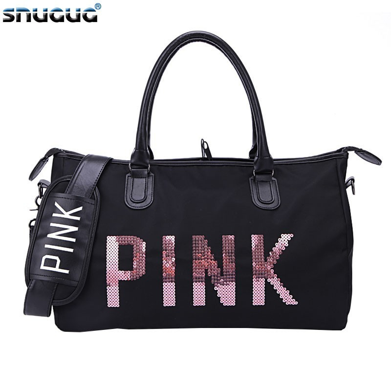 SNUGUG Fashion Big Crossbody Bags For Women Waterproof Pink Ladies Gym Bags For Fitness Oxford Mens Sports Shoulder Bag Travel
