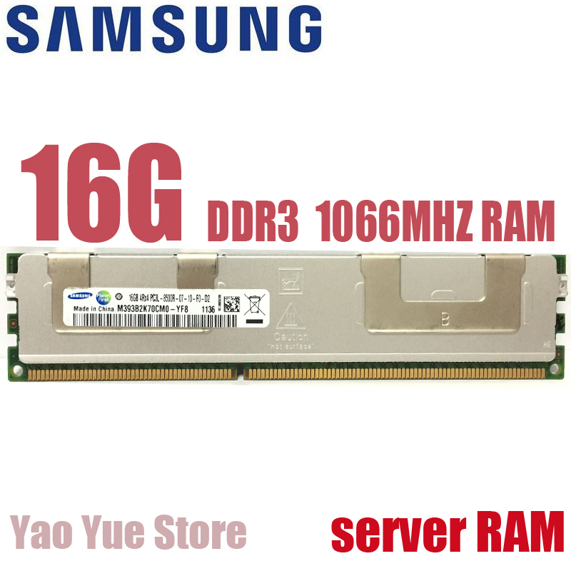 Free shipping For Samsung 16GB PC3 or PC3L 10600R DDR3 8500R 1066MHz 16G ECC REG server memory RAM 100% normal work
