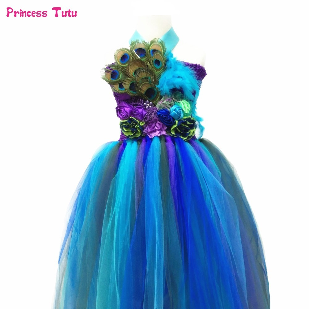 Peacock Princess Girls Tutu Dress Flower Feathers Pageant Tutu Dresses For Girls Kids Clothes Children Girl Wedding Party Dress цена 2017