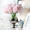 5 головок Пион для Рождественского украшения цветок искусственный шелк пионы для свадьбы дом новый год украшение для вечерние поддельный цветок - фото