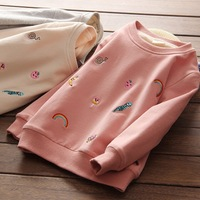 Rainbow Girls Clothes 2017 Winter Children Clothing Cashmere Baby Sweater Embroidered Hoodies & Sweatshirt Thicken Coat Sweater