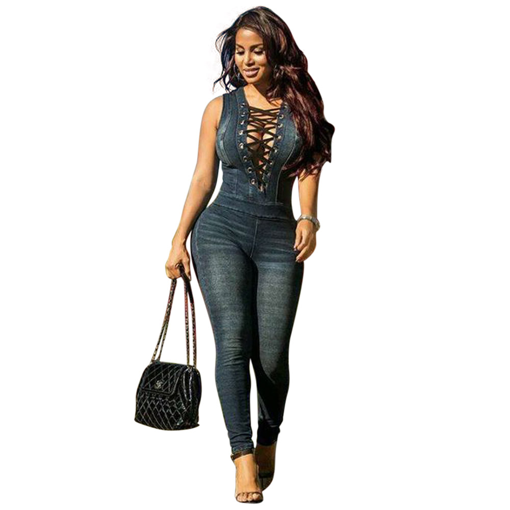 00f79205dead Wendywu Top Fashion Sexy Sleeveless Deep V Neck Lace Up Bodycon Denim  Jumpsuit for Women-in Jumpsuits from Women s Clothing on Aliexpress.com