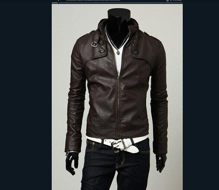 Hommes mode bref Slim solide en cuir veste Outwear moto vestes mâle PU cuir vêtements livraison gratuite - 2