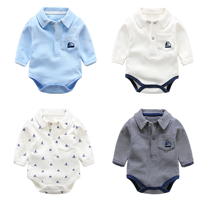 Baby Romper Long Sleeves 100% Cotton Baby Outerwear Striped Anchor Embroidery Newborn Baby Girls Boys Clothes Autumn Clothing puseky 2017 infant romper baby boys girls jumpsuit newborn bebe clothing hooded toddler baby clothes cute panda romper costumes