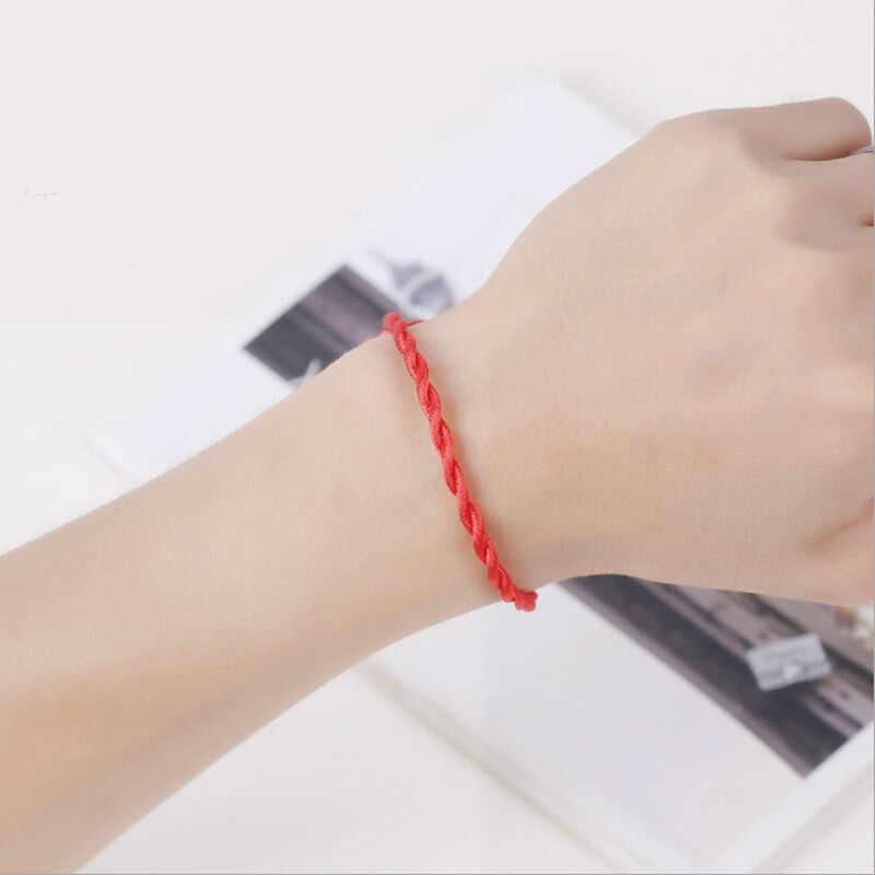1 piezas Rojo Negro la cadena de la cuerda y pulseras de eslabones moda rojo de la suerte negro hecho a mano cuerda brazaletes para Mujeres Hombres los amantes de construir