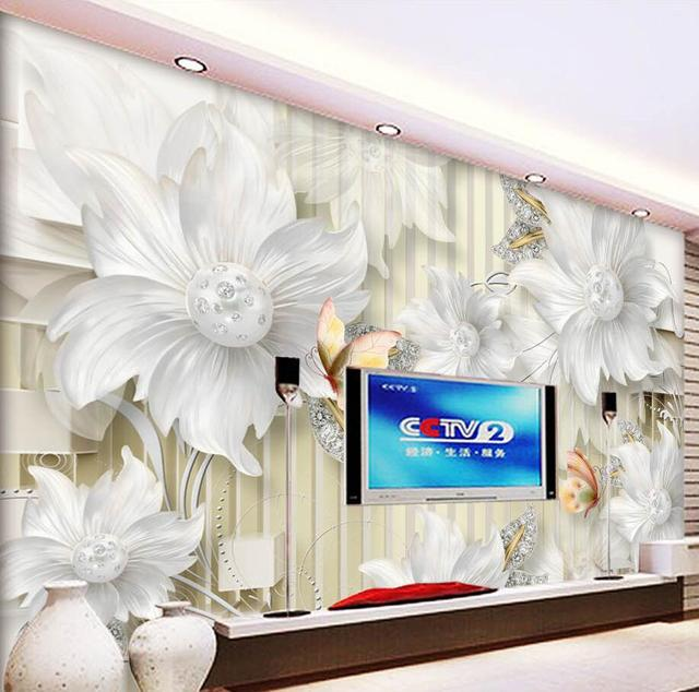 Beibehang Custom Photo Wallpapers 3D Stereoscopic High   Definition Palace  Jewelry Diamonds Floral Wallpaper Background Mural