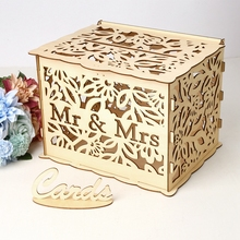 DIY Wedding Gift Card Box Rustic Money Mr&Mrs Just Married Party Supples Free Shipping