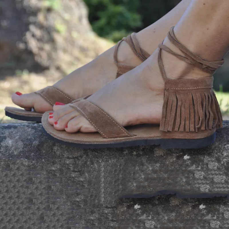 bed57f7be ... Women Sandals Lace Up Fringe Hippie Suede Tassels Gladiator Sandals  Women Casual Summer Shoes Female Flat