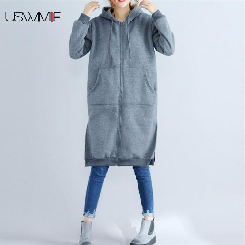 2018 Winter   Trench   Coat For Women Casual Zipper Pockets Long Sleeve Long Section Plush Plus Size Hooded Comfort Coat New USWMIE