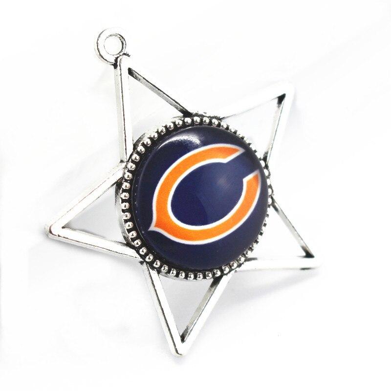 Хит продаж 20 шт./лот Стекло Chicago Bears мотаться Подвески Спортивные Футбол кулон висит Подвески DIY браслет и браслеты