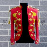 Stand Collar Men Red Suits Designs Masculino Homme Terno Stage Singers Men Sequin Blazer Dance Clothes Jacket Star Style Punk