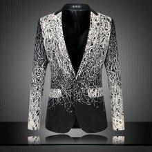 Blazer Männer Luxusmarke Mens Blumen Blazer Kostüm Homme Luxe einzigartige mens blazer vintage anzug freizeitjacke 5-6xl plus größe Q19