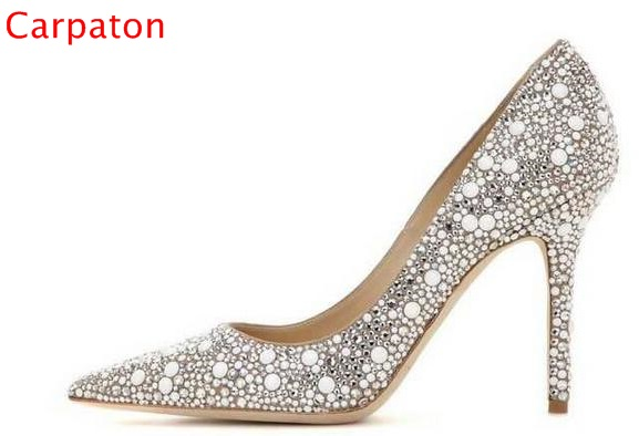 Bling Crystal Pointed Toe Thin High Heels Woman Pumps Slip On Cow Suede Wedding Dress Shoes 11CM Sweet Big Size 10 Beauty Pumps newest bling bling glitter high heel shoes 2017 sexy pointed toe woman pumps celebrity thin heels wedding shoes black gold silve
