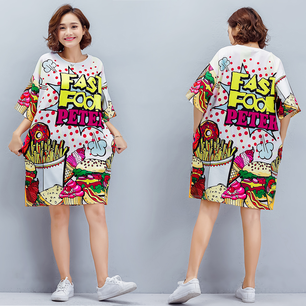 2019 European station fat MM trend in the long section of age old wild dress ladies summer loose large size dress