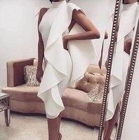 Cocktail Dresses White Plus Size Mermaid Short Evening Prom Dress 2019