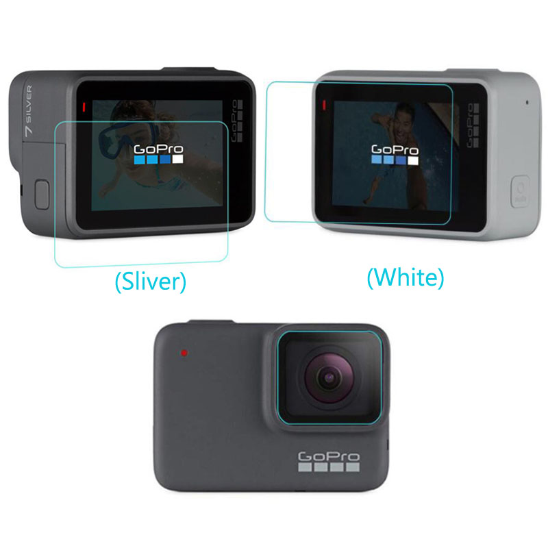 Tempered Glass Protector For GoPro Go Pro Hero7 Hero 7 White/Silver Camera Front Lens LCD Dsiaply Screen Protective Film Guard