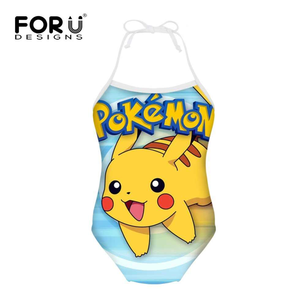 86e0b332ab7d2 ... FORUDESIGNS Pokemon Pikachu Printed Swimwear for Girls One-piece Suits Children  Swimsuit Japanese Anime Kids ...