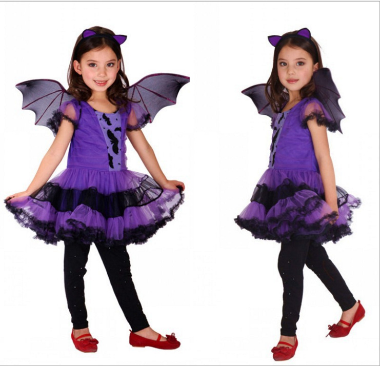 Fancy Masquerade Party Bat Girl Costume Children Cosplay Dance Dress  for Kids Purple Halloween Clothing Lovely Dresses HB1063