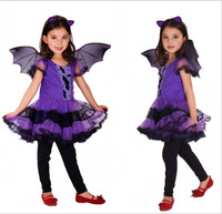 Fancy Masquerade Party Bat Girl Costume Children Cosplay Dance Dress For Kids Purple Halloween Clothing Lovely