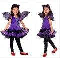 Fantasia Masquerade Party Bat Girl Crianças Traje Cosplay Halloween Roupas Vestido da Dança para Crianças Roxo Vestidos Encantadores HB1063