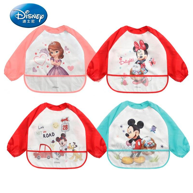 Disney Baby Bibs Waterproof Cartoon Cotton Long Sleeve Bib Burp Clothes Baberos Baby Stuff Disney Accessory 2 pcs