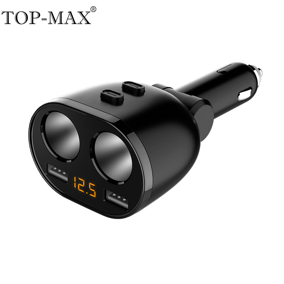 TOP-MAX 5 V 3.6A Dual USB cargador de coche de 2 puertos USB del teléfono móvil cargador rápido 80 W encendedor divisor de adaptador de corriente