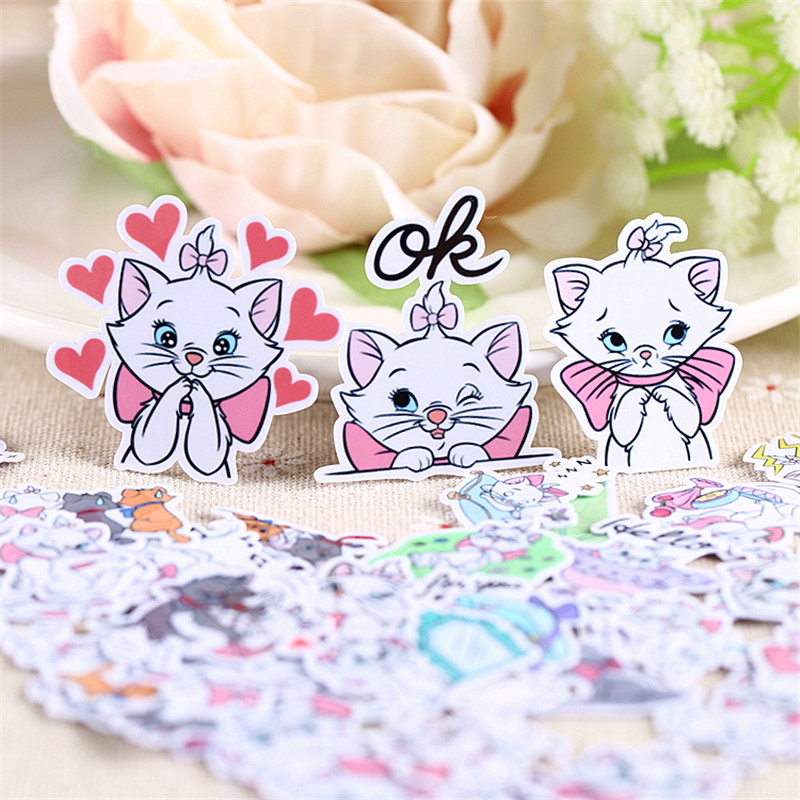 40 Pcs Cartoon White Cat Daily Sticker For Kid DIY Laptop Waterproof Skateboard Moto Phone Car Toy Scrapbooking Stickers