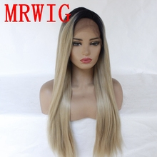 MRWIG long straight ombre 27# mixed 613# blonde right side part synthetic glueless lace front wig 26in 320g