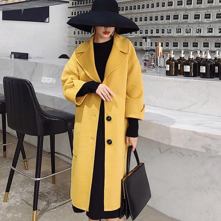 Et Jaune Style Épais Nouveau De D'hiver Lâche Coupe En Manteau Version Veste Ni Moyen 2018 taille vent long Coréenne Automne Z5xngHq5w0