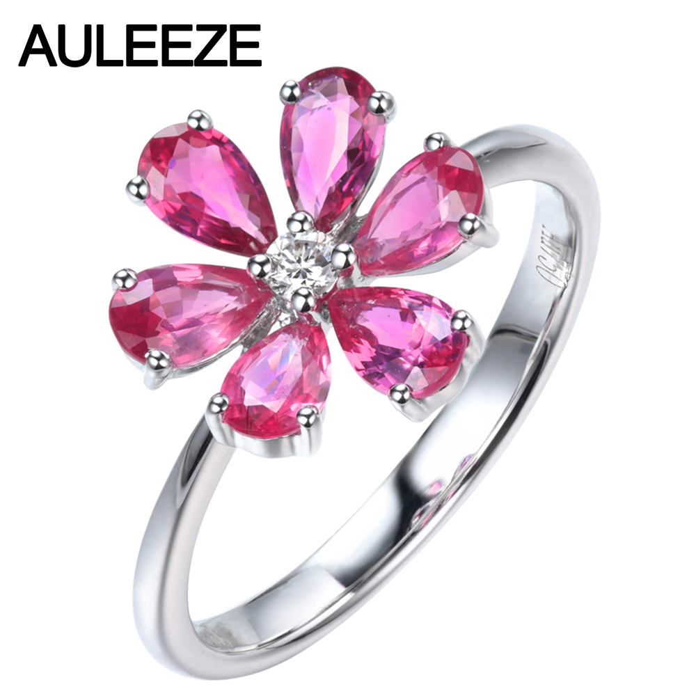 AULEEZE Pear Cut Natural Pink Sapphire Diamond Ring Real 18k White Gold Gemstone Flower Female RingAULEEZE Pear Cut Natural Pink Sapphire Diamond Ring Real 18k White Gold Gemstone Flower Female Ring