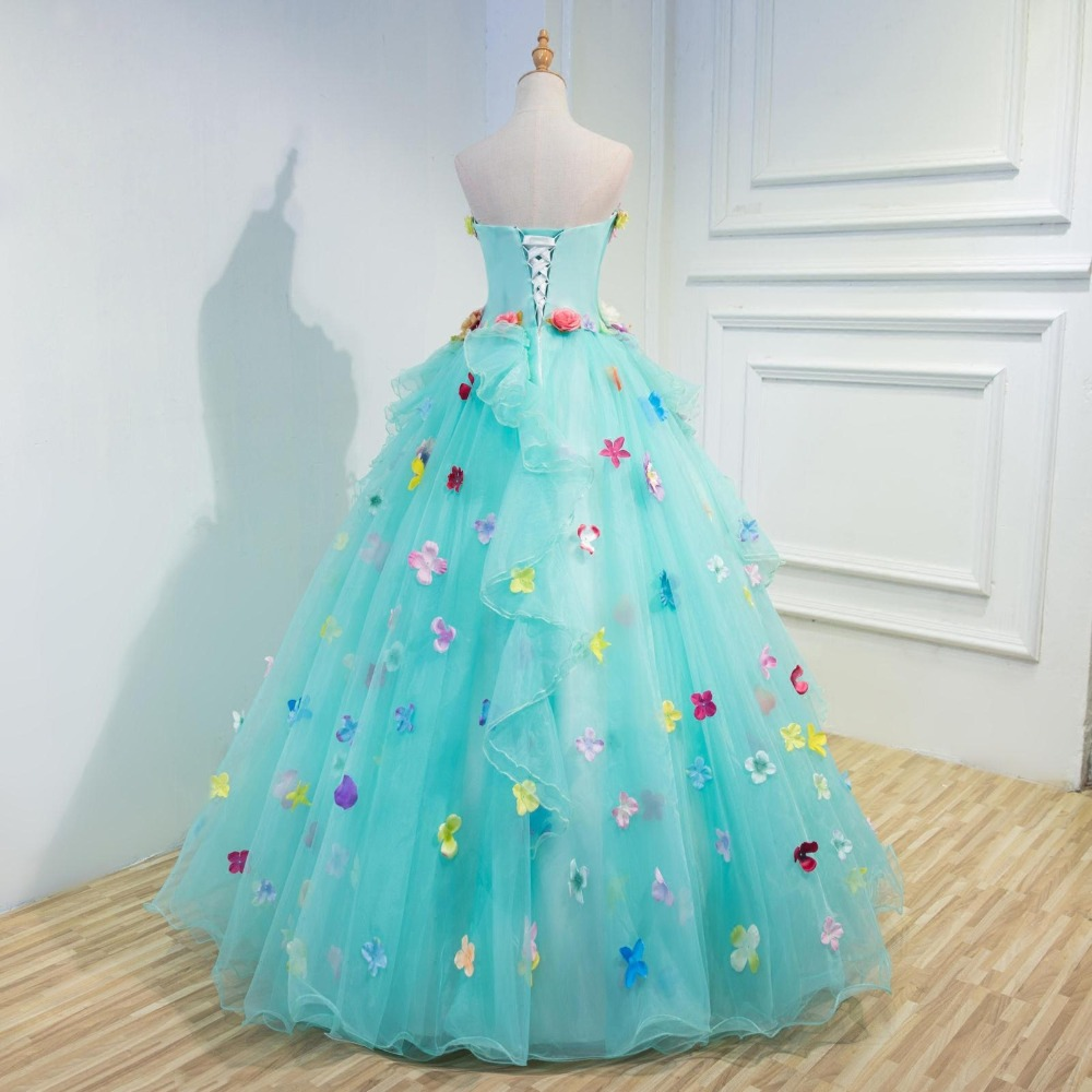 d04ce1d531 Gorgeous Flowers Mint Green Prom Dresses Ball Gowns Flowers Puffy Long Prom  Dress Debutante Gowns 15 Years Dresses-in Prom Dresses from Weddings    Events on ...