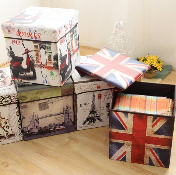 Vintage Union Jack Folding Storage Box / Non moven Home Folded Storage Stool / Storage bag / Sundry bin-in Stools u0026 Ottomans from Furniture on ... & Vintage Union Jack Folding Storage Box / Non moven Home Folded ...