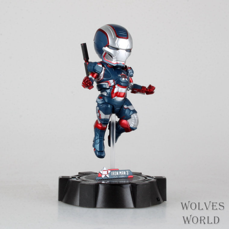 SAINTGI Marvel Avengers Assemble Iron Man Iron Patriot with light Doll Super Heroes PVC 16CM Action Figure Collection Model