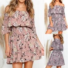 2019 Women Short Sleeve Dress Fashion Off Shoulder Ruffles Dress Floral Print Ruched Mini Dress