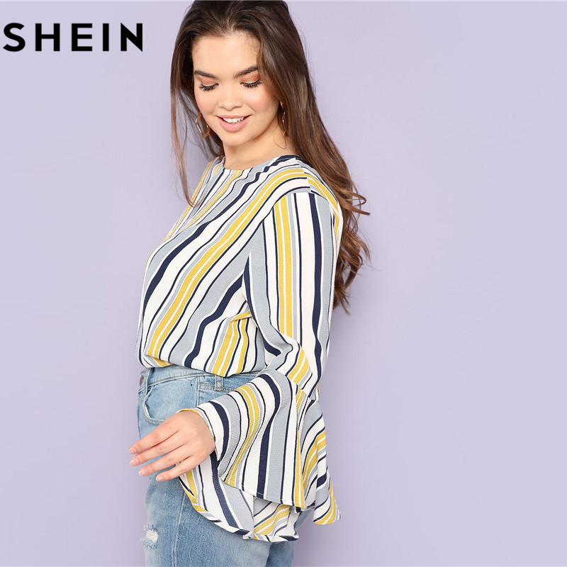 257f741302 SHEIN Elegant Multicolor Striped Ruffle Sleeve Plus Size Long Women Blouses  2018 Autumn Office Lady O Neck Fashion Tops Blouse-in Blouses & Shirts from  ...