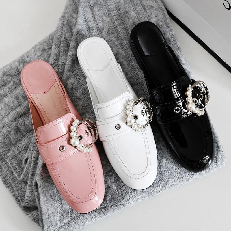 Plano Tacón Deslizamiento Espalda white Sandalias Decoración Genuino En Primavera Moda Metal Black pink Las Niña La Diapositivas Marcas Zapatos Mujeres Cuero De wzZn048q