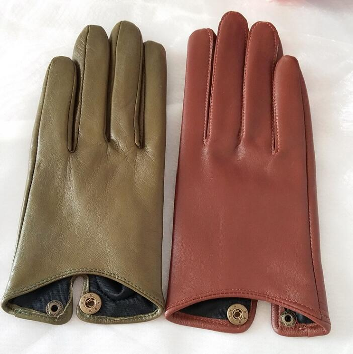 Women's Natural Sheepskin Leather Gloves Female Genuine Leather Motorcycle Driving Gloves R760