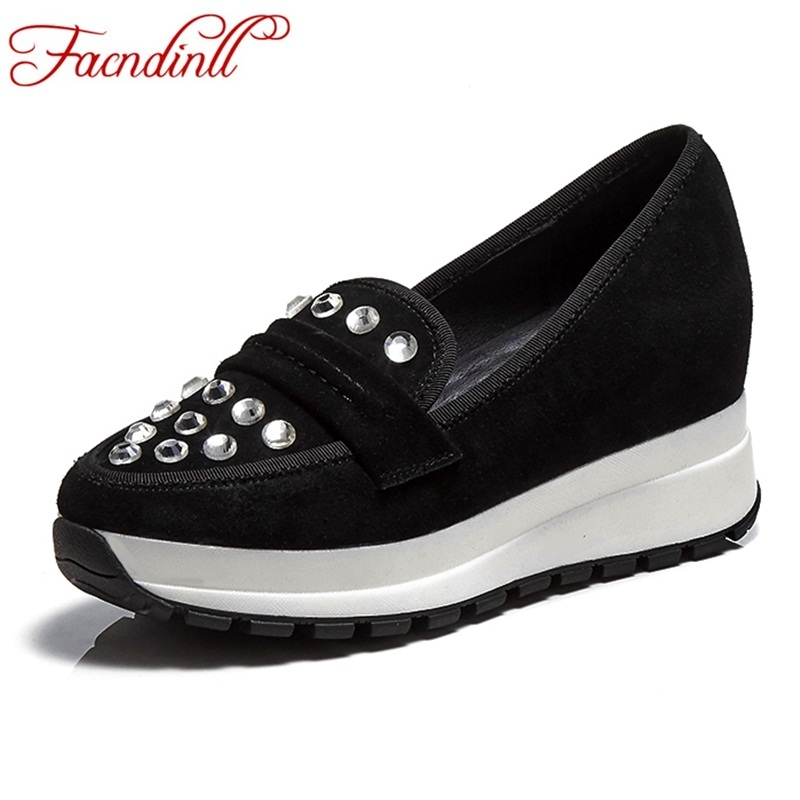 FACNDINLL new 2018 new fashion women flats shoes genuine leather autumn women black crystal casual shoes flat heel sneaker shoes women s shoes 2017 summer new fashion footwear women s air network flat shoes breathable comfortable casual shoes jdt103